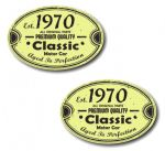 PAIR Distressed Aged Established 1970 Aged To Perfection Oval Design Vinyl Car Sticker 70x45mm Each